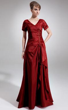 A-linjainen/Prinsessa V-kaula-aukko Lattiaa hipova pituus Tafti Morsiamen äiti-mekko jossa Helmikuvoinnit Paljetit Laskeutuva röyhelö (008006337)