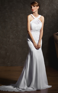 Trompete/Sereia Decote redondo Cauda de sereia De chiffon Vestido de noiva com Pregueado Bordado (002011618)