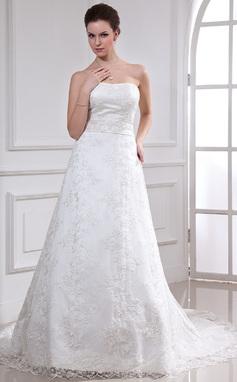 Forme Princesse Bustier en coeur Traîne mi-longue Dentelle Robe de mariée avec Emperler (002000185)