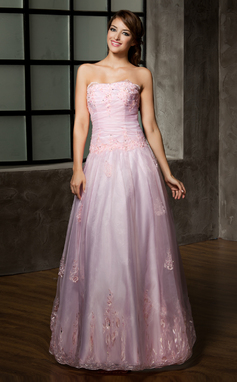 A-Line/Princess Strapless Floor-Length Organza Quinceanera Dress With Ruffle Beading Appliques Lace (021002858)