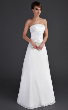 A-Line/Princess Strapless Floor-Length Taffeta Wedding Dress With Ruffle Beading (002001666)