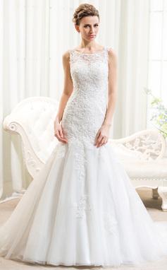 Trumpet/Sjöjungfru Rund-urringning Court släp Tyll Spetsar Bröllopsklänning med Pärlbrodering Paljetter (002054374)