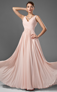 A-Line/Princess V-neck Floor-Length Chiffon Prom Dresses With Ruffle (018005068)