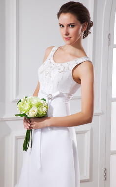 A-Line/Princess Scoop Neck Tea-Length Satin Organza Wedding Dress With Sash Beading Bow(s) (002015483)