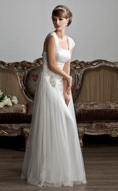 Трапеция/Принцесса квадратный вырез Длина до пола Тюль Свадебные Платье с Рябь Бисер (002011588)