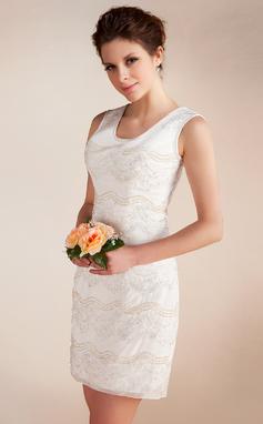 Tubo Decote redondo Curto/Mini De chiffon Vestido de noiva com Renda Bordado (002012815)