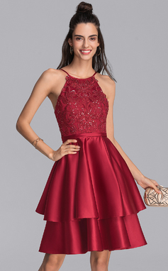 A-Line Scoop Neck Knee-Length Satin Homecoming Dress With Sequins (022206550)