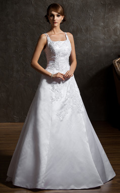 A-Line/Princess Square Neckline Floor-Length Satin Organza Wedding Dress With Beading Appliques Lace Flower(s) (002012906)