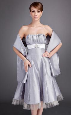 A-Lijn/Prinses Sweetheart Thee lengte Taft Bruidsmeisjes Jurk met Roes Ceintuurs Kristal Bloemen Pin (007020952)