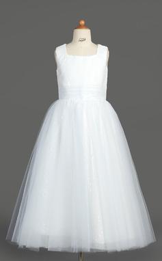 Forme Princesse Longueur mollet Robes à Fleurs pour Filles - Tulle/Pailleté Sans manches Encolure carrée avec Plissé (010007313)