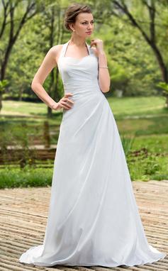 A-linjeformat Grimma Court släp Taft Bröllopsklänning med Rufsar (002011784)