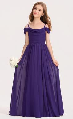 A-Linie Off-the-Schulter Bodenlang Chiffon Kleid für junge Brautjungfern mit Rüschen (009191739)