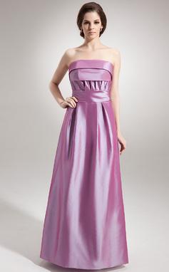 Vestidos princesa/ Formato A Sem Alças Longos Tafetá Vestido de madrinha com Pregueado (007000778)