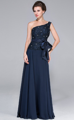 A-Line/Princess One-Shoulder Floor-Length Chiffon Lace Mother of the Bride Dress With Beading Bow(s) (008025451)