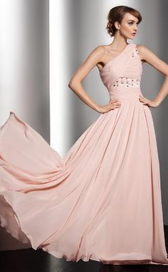 A-Linie/Princess-Linie One-Shoulder-Träger Bodenlang Chiffon Festliche Kleid mit Rüschen Perlen verziert Blumen (020014547)