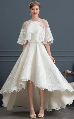 Трапеция квадратный вырез асимметричный Атлас Свадебные Платье с Кружева Карманы (002171953)
