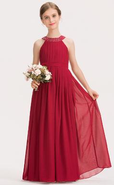 A-Linie U-Ausschnitt Bodenlang Chiffon Kleid für junge Brautjungfern mit Rüschen Perlstickerei Schleife(n) (009191701)