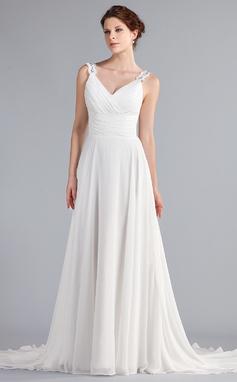 Vestidos princesa/ Formato A Decote V Cauda de sereia De chiffon Vestido de noiva com Pregueado Bordado Apliques de Renda (002011603)