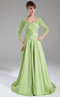 A-Line/Princess Sweetheart Sweep Train Taffeta Lace Mother of the Bride Dress With Ruffle (008005950)