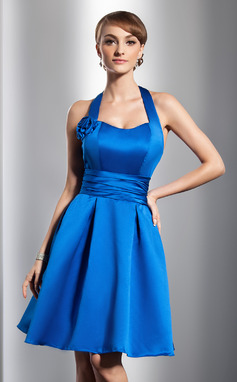 A-Line/Princess Halter Knee-Length Satin Bridesmaid Dress With Ruffle Flower(s) (007051875)