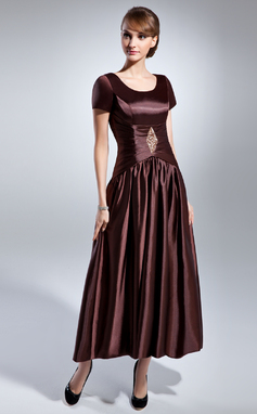 A-Line/Princess Scoop Neck Ankle-Length Charmeuse Mother of the Bride Dress With Ruffle Beading (008015054)