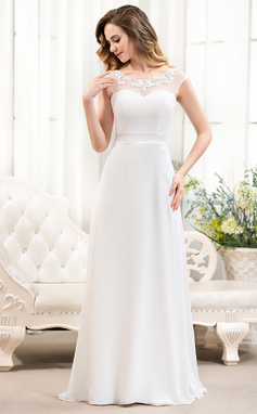 A-Line/Princess Scoop Neck Sweep Train Chiffon Wedding Dress With Beading Appliques Lace Sequins Bow(s) (002052763)
