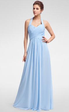 Vestidos princesa/ Formato A Cabresto Longos De chiffon Vestido de madrinha com Pregueado (007025356)
