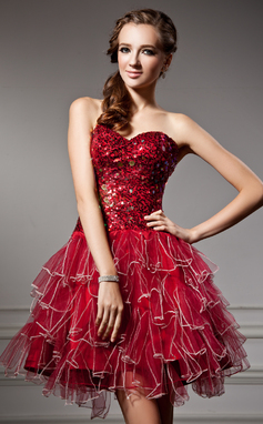 Vestidos princesa/ Formato A Coração Curto/Mini Tule Vestido de boas vindas com Lantejoulas Babados em cascata (022020945)
