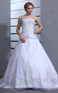 Ball-Gown Strapless Chapel Train Satin Organza Wedding Dress With Embroidered Beading (002000239)
