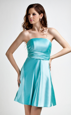 A-Line/Princess Strapless Short/Mini Charmeuse Bridesmaid Dress With Ruffle Bow(s) (022015779)