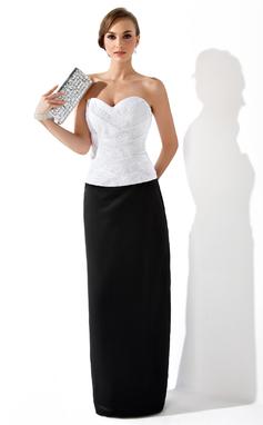 Платье-чехол В виде сердца Длина до пола Атлас Вечерние Платье с Рябь Бисер (017025909)