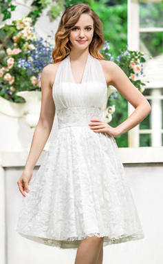 A-Line/Princess Halter Asymmetrical Chiffon Lace Wedding Dress With Bow(s) (002054618)
