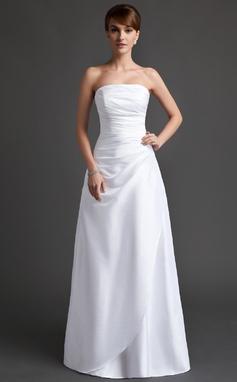 A-Line/Princess Strapless Floor-Length Taffeta Bridesmaid Dress With Ruffle (007001070)
