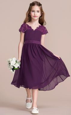 A-Linie/Princess-Linie V-Ausschnitt Wadenlang Chiffon Kleid für junge Brautjungfern mit Schleife(n) (009097064)