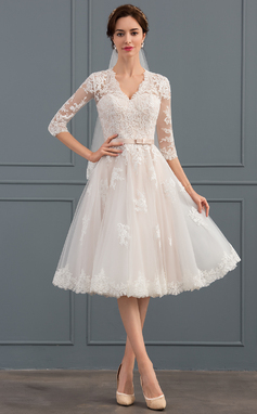 A-Line V-neck Knee-Length Tulle Wedding Dress With Bow(s) (002134808)
