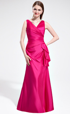 Trumpet/Mermaid V-neck Floor-Length Taffeta Bridesmaid Dress With Cascading Ruffles (007025366)