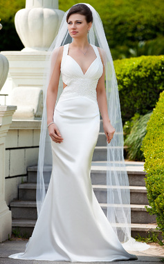 Trumpet/Mermaid V-neck Sweep Train Charmeuse Wedding Dress With Ruffle Beading Sequins (002012598)