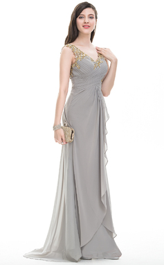 A-Line/Princess V-neck Sweep Train Chiffon Prom Dress With Ruffle Beading Sequins (018093857)