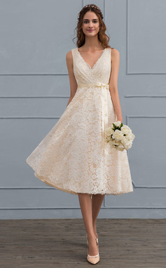A-Line/Princess V-neck Knee-Length Lace Wedding Dress With Bow(s) (002121440)