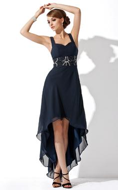 Vestidos princesa/ Formato A Coração Assimétrico De chiffon Vestido de boas vindas com Pregueado Bordado (022009287)