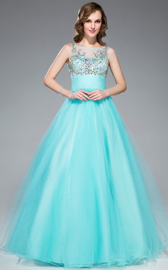 Ball-Gown Scoop Neck Floor-Length Tulle Prom Dress With Beading Sequins (018047249)