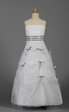 A-Line/Princess Floor-length Flower Girl Dress - Organza/Satin Sleeveless With Sash/Bow(s) (010016343)