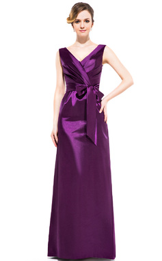 Sheath/Column V-neck Floor-Length Charmeuse Bridesmaid Dress With Ruffle Bow(s) (007050060)