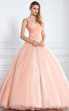 Платье для Балла V-образный Длина до пола Органза Пышное платье с Рябь развальцовка блестки (021002897)