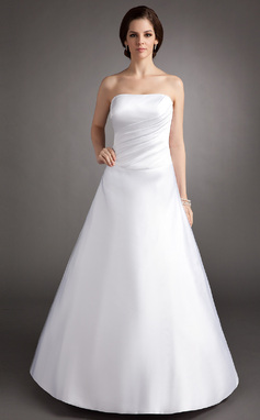 A-Line/Princess Strapless Floor-Length Satin Quinceanera Dress With Ruffle (021002838)