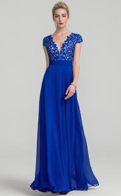 A-Line/Princess V-neck Floor-Length Chiffon Prom Dress With Ruffle (018138544)