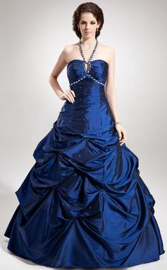 Трапеция/Принцесса С бретелью через шею Длина до пола Тафта Пышное платье с Рябь Бисер (021020760)