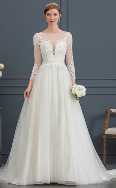 Платье для Балла/Принцесса Иллюзия Церемониальный шлейф Тюль Свадебные Платье (002171926)