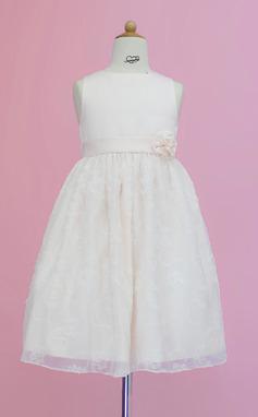 A-Line/Princess Tea-length Flower Girl Dress - Satin/Lace Sleeveless Scoop Neck With Sash/Flower(s) (010005342)