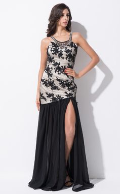 Trumpet/Mermaid Scoop Neck Floor-Length Chiffon Tulle Prom Dress With Beading Sequins Split Front (018052711)